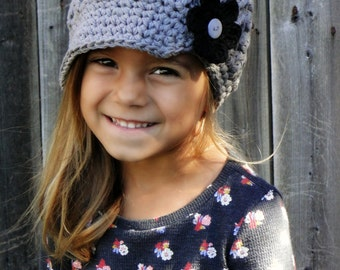 Kids hat with interchangeable flowers, Crochet newsboy hat, baby hat, hat for girls,