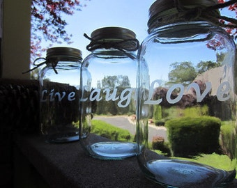 CUSTOMIZED Mason Jars Etched, Customize Pick 3, LARGE QUART Jars