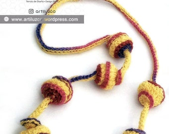 Bordoneo Guacamayo, Crochet necklace, Necklace in natural fibers, Handmade knitted necklace