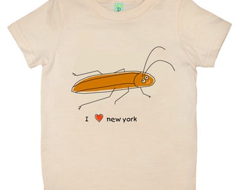 Organic cotton short sleeve kids T-shirt with screen printed New York cockroach design by Bugged Out, made in the USA