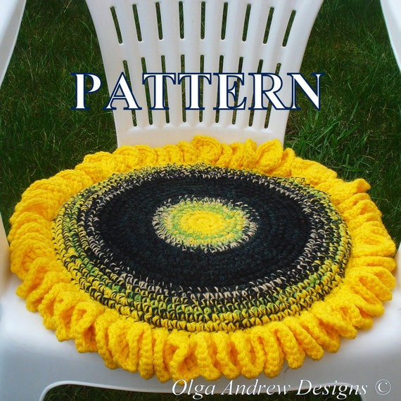 Bon Sunflower Chair Seat Cushion Crochet Pattern Crochet Sunflower