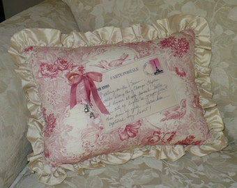 Toile Pillow, French Postcard, Decorative pillow, Red Toile, silk ruffle, Eiffel Tower, Last One