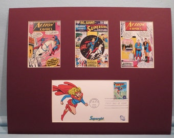 DC Comic Book Super Hero Supergirl and First Day Cover of the Supergirl stamp