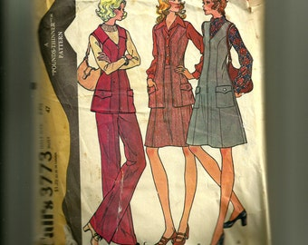 Vintage McCall's Misses'  Jumper or Vest, Skirt, and Pants Pattern 3773