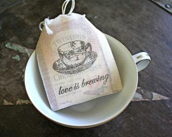 Wedding favor bags, set of 50 coffee or tea favor bags, Love is Brewing, teacup design, Bridal tea, tea shower favor, cloth favor bag