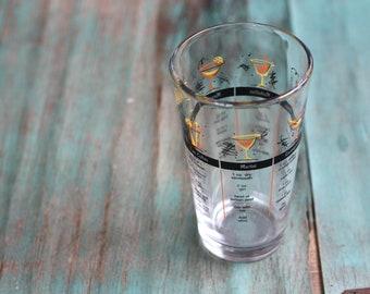 Libby Cocktail Recipes Tumbler Vintage Barware, Cocktail Glass, Measuring Glass, 1960's Barware, Vintage Bar, Cocktail Shaker