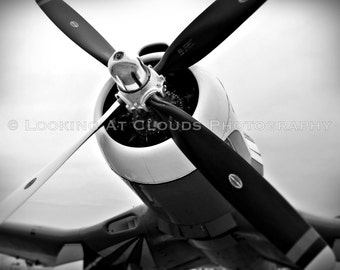 airplane art, aviation photography, black and white Corsair propeller, vintage airplane, pilot gift, airplane decor, boys room