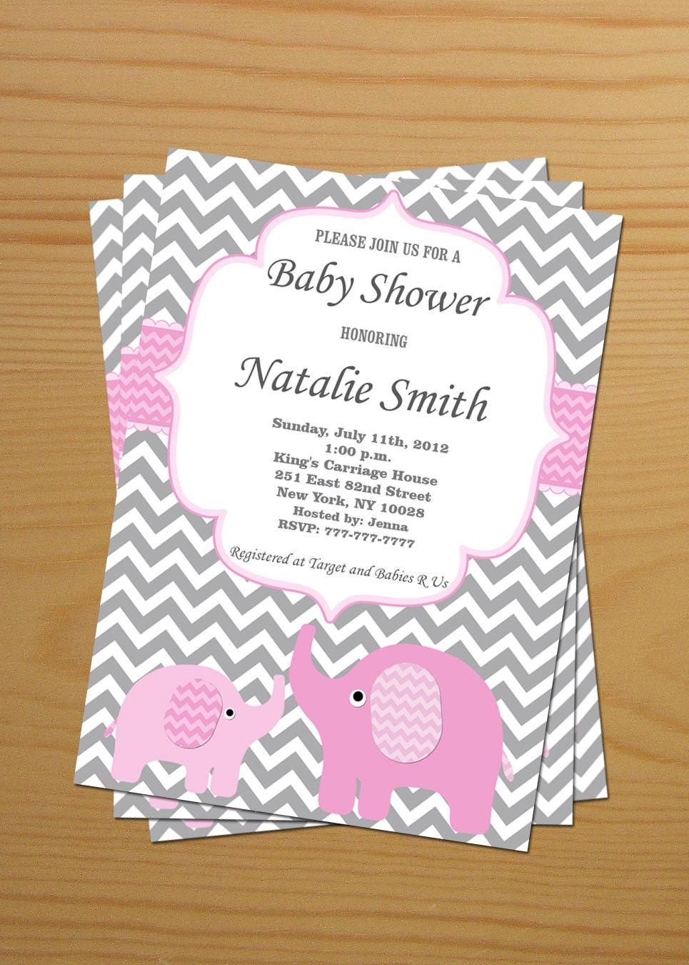 Baby shower invitation girl elephant baby shower invitation zoom filmwisefo Images