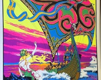 "Viking's Return Black Light Poster 1970's Aprox. 23"" x 35"""