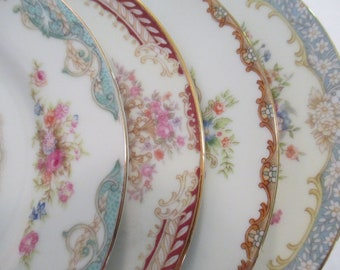 Vintage Mismatched China Dessert Plates / Bread Plates for Tea Party, Tea Plates, Bridal Luncheons, Hostess Gift, Bridesmaid Gift-Set of 4