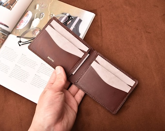 Handmade Leather Mens wallet small leather wallet  slim wallet