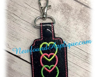 In the Hoop Chain Of Hearts Key Fob Embroidery Machine Design
