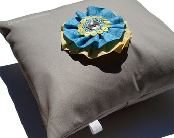 """14"""" PILLOW COVER - Pewter Gray - Yellow Turquoise Silver Surf Button Blossom by JillianReneDecor"""