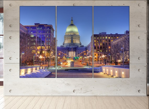 madison Wisconsin skyline canvas wall art  madison canvas wall art art madison wall decoration madison large canvas wall art