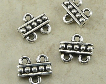 4 TierraCast Beaded 2-1 Connector Link Findings - Chandelier Multi Strand - Silver Plated Lead Free Pewter - I ship Internationally 3054