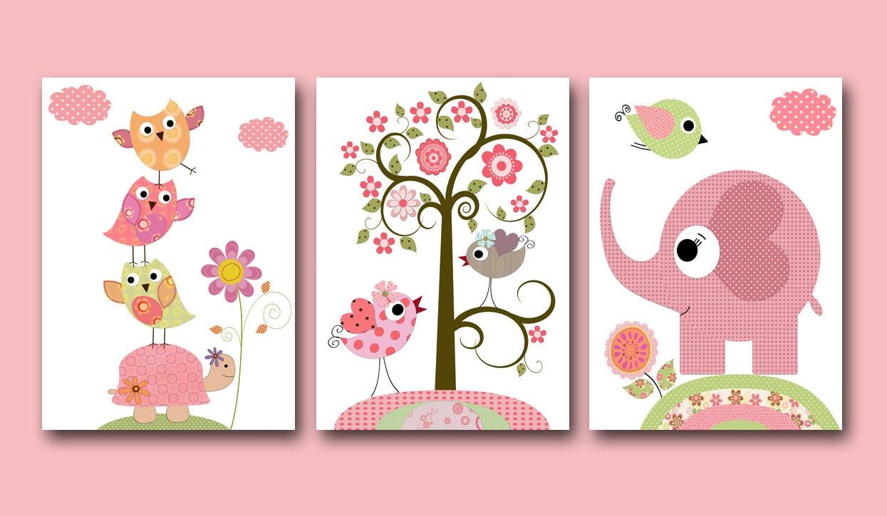Kids wall art baby girl nursery baby girl room decor nursery for Baby girl room wall murals