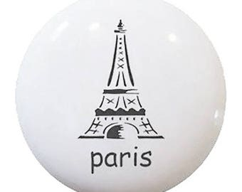 Paris Eiffel Tower Ceramic Knob or Pull for Furniture or Cabinet