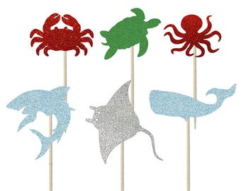 Under the sea Cupcake Toppers, Cake Topper, Cake Decoration, Ocean Theme party, Sea Theme Party, Sharks Theme party