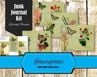 Spring Junk Journal Kit, Botanical  Junk Journal Printable, Sring Green Junk Journal Kit, Instant Download