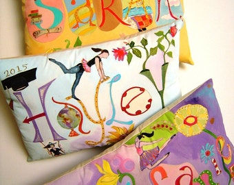 Whimsical Personalization Pillow Customize w/ALL the Things You Love Colorful FUN All Occasion Gift Hand Painted Original Art Pillow