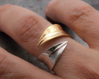 Leaf Ring, Two Toned Gold and Silver Ring, Twisted Leaves Wrap Wide Ring, Women's Adjustable Handmade Elegant Ring, Nature Leaf Jewelry