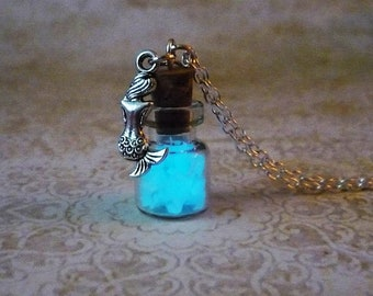 mermaid glow in the dark necklace