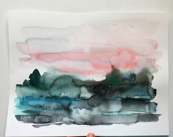 Watercolor Landscape,Landscape Art, Blue And Pink Art, Watercolor Wall Art, Original Painting Wall Art,Modern Lanscape Art,Nature Watercolor