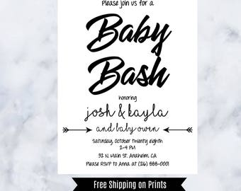Modern Baby Shower Invitation,Black and White, Gender Neutral, Baby Bash, Arrows, Printable, Downloadable