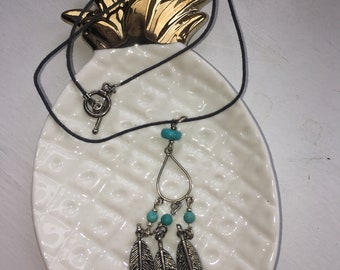 Boho Feather and Turquoise Necklace