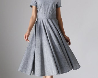 gray dress, linen dress, womens dresses, midi dress, boat neck dress, custom made dress, summer dress, fit and flare dress (972)