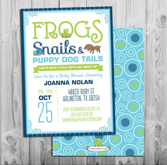 Frogs snails and puppy dog tails invitation boy baby shower like this item filmwisefo Image collections