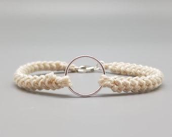 Sterling Silver, Cotton Bracelet, Gift for Her, Gift for Him, Cotton Anniversary, minimalist bracelet, Birthday Gift, Crochet Jewellery.