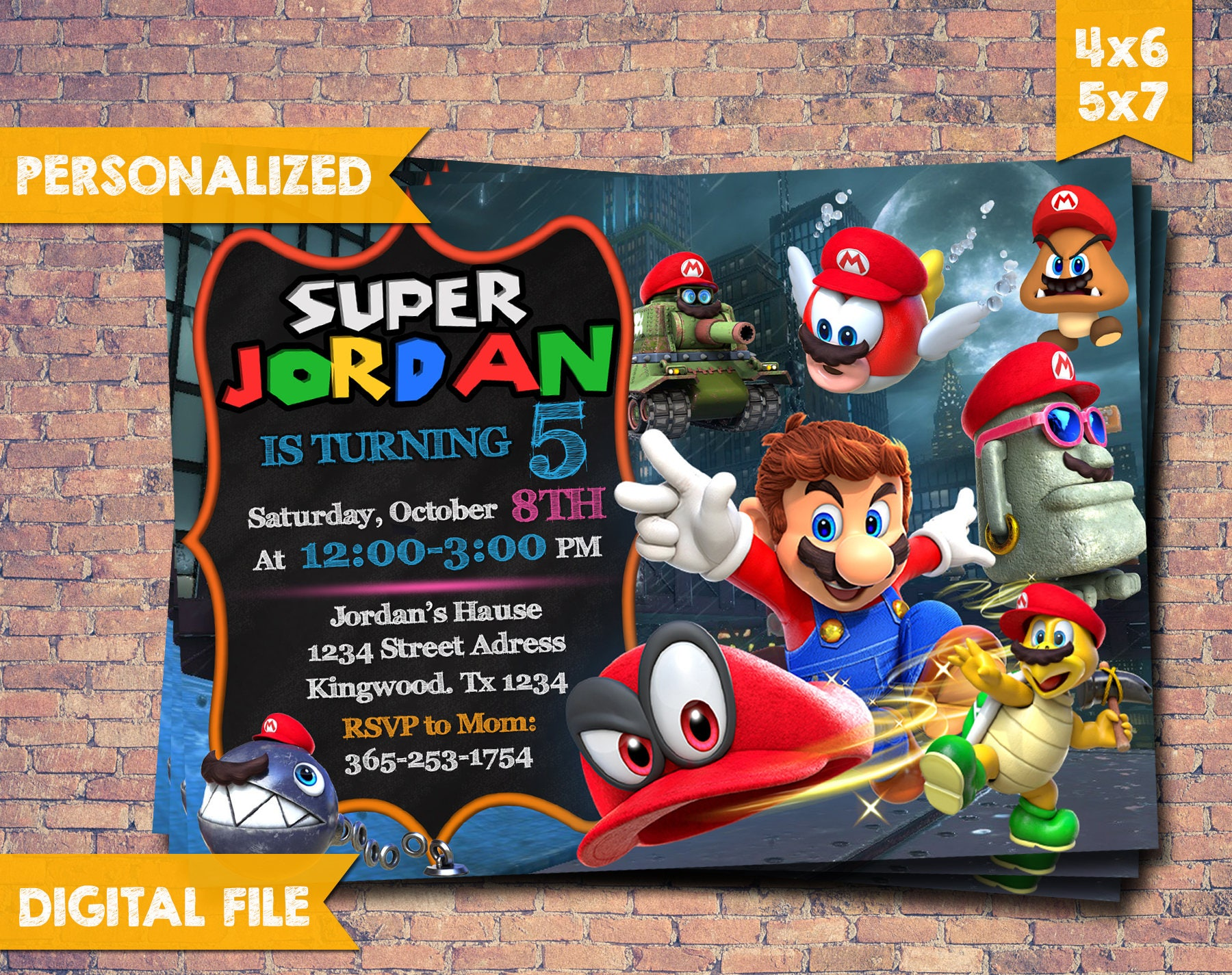 Super Mario Odyssey Invitation Super Mario Invitation