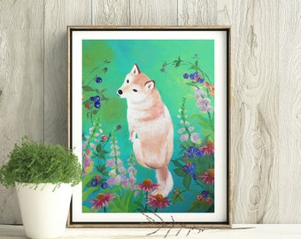 Flower Girl, Shiba inu, Digital download-only image, Printable art, Dog print, Handmade, All the proceeds will be donated to rescue orgs