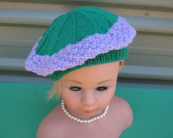 Handmade Knitted Purple and Green Beret for Girl aged around 8-12 years in Totem 8 ply