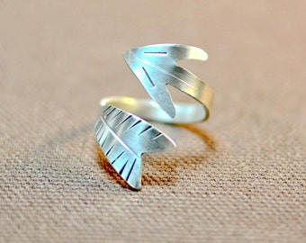 Sterling Silver Arrow Ring Handmade - Solid 925 Wrap Ring  RG880