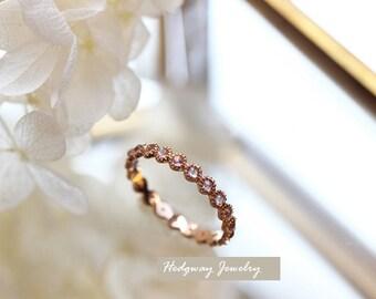 Vintage Moonstone Wedding Band, Rose Gold Moonstone Wedding Ring, Vintage Moonstone Ring, Rose Gold Moonstone Band, Wedding Band, Stacking