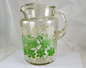 Daffodil Beverage Pitcher - Glass Green White Daffodils - Vintage Mid Century One Gallon