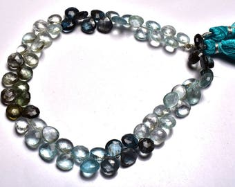 Natural Gem Stone 9 Inch,SUPERB, AAA Quality,Multi Moss Aquamarine faceted   Pear Shape  Beads Briolettes   6.5  To 7 MM Size