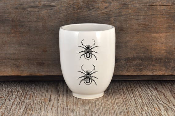 Porcelain coffee tumbler with vintage INSECT prints