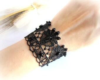 Black lace bracelet, embroidered lace bracelet, black lace cuff bracelet, bridesmaid bracelet, bridesmaid jewelry, lace jewelry