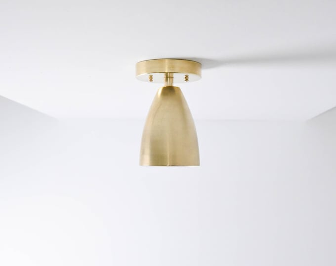 Title 24 Raw Brass Gold Single Large Cone Bell Light Wall Sconce High Efficacy LED JA8 Compliant UL Damp Listed