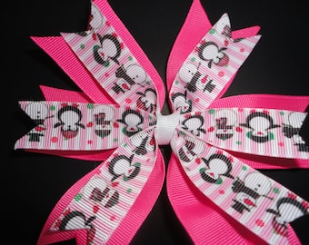 Pink and White Snowman and Penguin Layered hair Bow