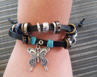 Butterfly charm black cord beaded bracelet