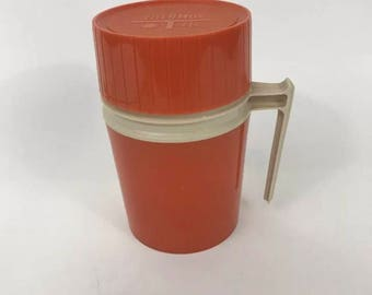 Vintage Thermos Orange 10 oz Ounce Model 7002 Wide Mouth Handle Beige Insulated