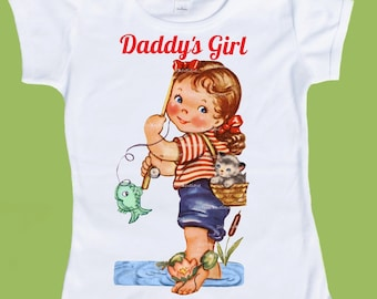 Daddys girl,Fishing Girl, Fathers Day, personalized Blonde, Brunette or Red Hair, Original, T-Shirt or Tank by ChiTownBoutique.etsy