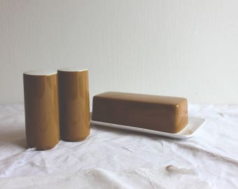 Vintage Mikasa Cera Stone set of salt and pepper shakers, with covered butter dish