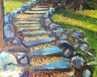 Original Oil Painting; Stairway in the Woods; Autumn Sunlight; Shadows; October; Letchworth