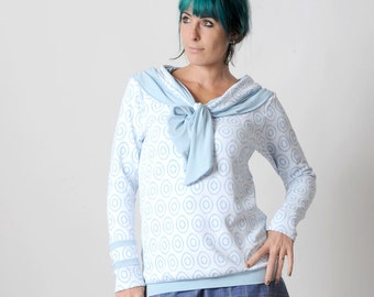White and blue sweater, Womens sweater with sailor scarf, Womens clothing, White and blue womens sweatshirt, Womens sweaters, MALAM, UK12