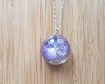 Real Purple Hydrangea Cabochon Necklace